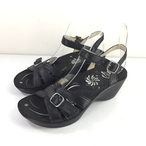 Abeo 6 Black leather Sandals Comfort walking